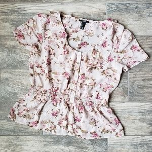Forever 21 Floral Ruffle Button Top